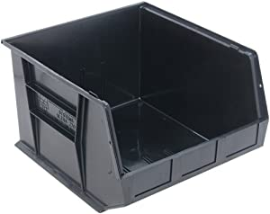 Quantum QUS270 Plastic Storage Stacking Ultra Bin, 18-Inch by 16-Inch by 11-Inch, Black Conductive, Case of 3