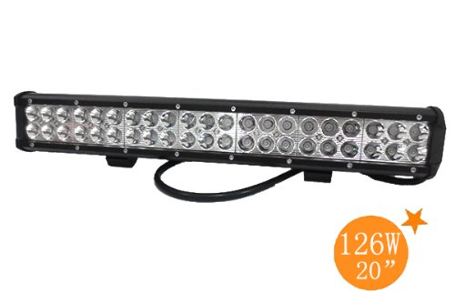 Ediors 126W 12600Lm Led Off Road Light Bar Flood Spot Combo Beam- 42Pcs*3W High Intensity Leds