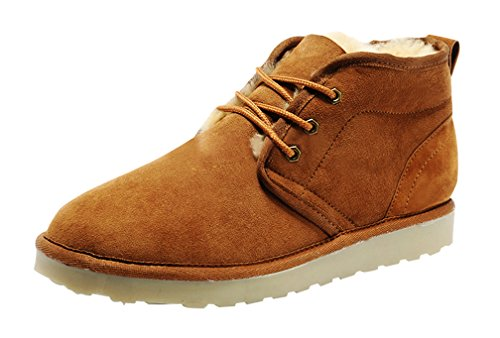 Rock Me Fur Sturdy Heel Knitting Lace Up Men Ankle Boots Integr I(9.5 D(M) US, Chestnut)