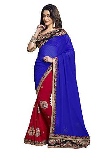 Bollywood Designer Sarees Sari Embroidered Faux Georgette Red, Blue By Triveni