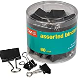 Staples® Binder Clips, Assorted Sizes, Black, 60 per Pack