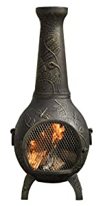 Amazon.com : Outdoor Chimenea Fireplace - Rose in Gold Accent Finish