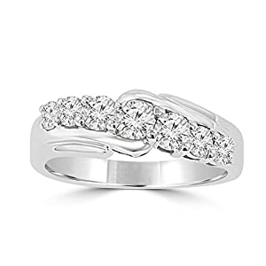 1.15 ct Round Cut Diamond Wedding Band Ring in Prong Setting in Platinum In Size 6
