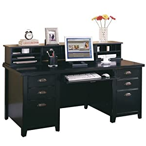 tribeca loft black executive desk with hutch