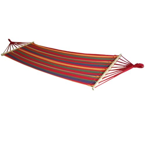 Image® Rainbow Stripe Single Outdoor Hanging Sleeping Camping Cotton Hammock Bed W/ Wood Spreader & Two Ropes front-415882
