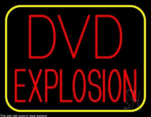 """Red Dvd Explosion Yellow Border Clear Backing Neon Sign 24"""" Tall X 31"""" Wide"""