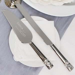 com engraved wedding cake and knife server set serving utensils