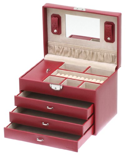 Davidt's Euclide Large Hinged Top Jewel Box in Red