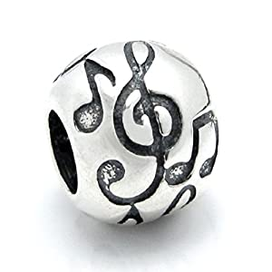 Amazon.com: Sterling Silver Treble G Clef Melody Music Note Bead For