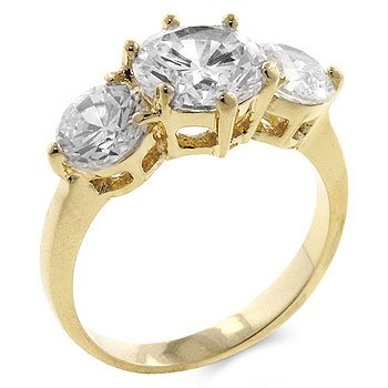ENGAGEMENT RING - 14k Gold Bonded Ring Featuring Triple Round Cut Clear CZ in a Prong Setting