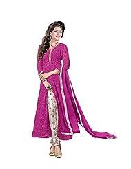 Women's Pink & Cream Georgette Leheriya Printed Semi Stitched Suit