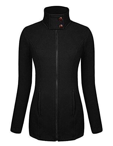 Ninedaily Women Long Sleeve Sweatshirt Crewneck Zip Up Hoodie Jacket Black S