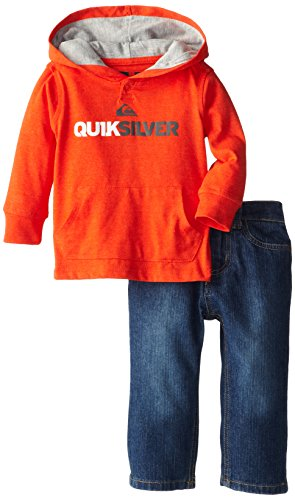 Quiksilver Baby-Boys Infant Orange Hoody With Jeans, Orange, 18 Months front-1047835