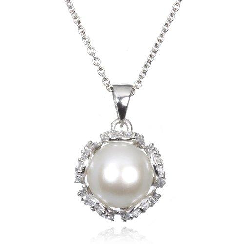 White Pearl Pendant with White CZ-18
