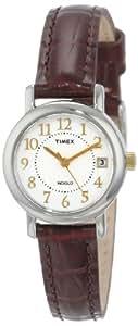 Timex T2N33 - Reloj de mujer de cuarzo, correa de piel color marrón