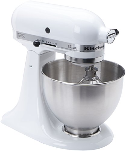 KitchenAid K45SSWH K45SS Classic 275-Watt 4-1/2-Quart Stand Mixer, White