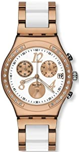 Swatch Irony Dreamwhite Rose Chronograph Rose Gold-Tone Steel Ladies Watch YCG406G