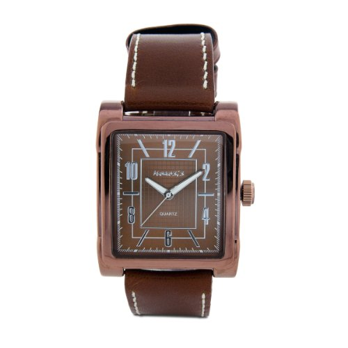 Nemesis Men's L-B053B Elegant Chocolate Leather Rectangular Stainless Steel Quartz Watch