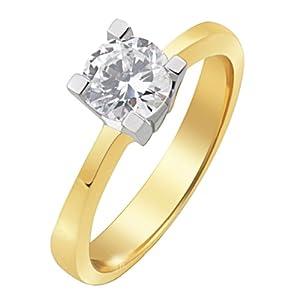 Goldmaid Damen-Ring 4 Weissgoldstotzen 585 Gelbgold 1 Brillant SI/H 1,00 ct. Gr. 56 So R4165GW56