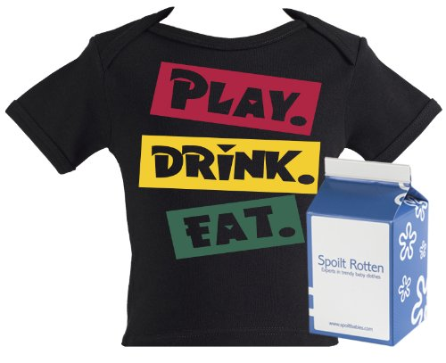 Spoilt Rotten - Play. Drink. Eat. Baby & Toddler Lap Punk T-Shirt 100% Organic Sizes 2-3 years BLACK + in funky Milk Carton