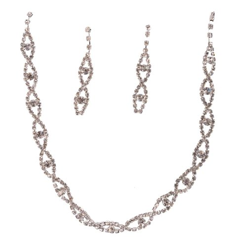 Hotportgift Nice Wedding Bridal Bridesmaid Crystal Necklace + Earring Slivery Jewelry Set