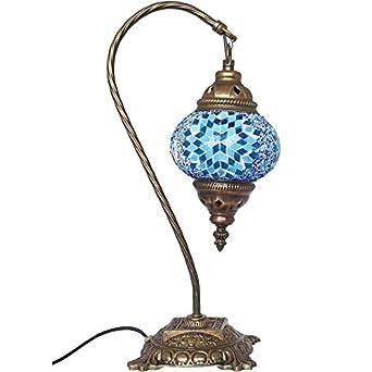 Table Lamp Mosaic Lamps Blue Glass Moroccan Lanterns Turkish Lamp Bedsid
