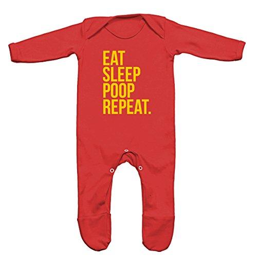 FLOSO - Tutina con Scritta Eat Sleep Poop Repeat - Neonati/Unisex (6-12 mesi) (Rosso)