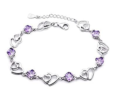 findout ladies swarovski element silver Solidarity and double heart-shaped amethyst bracelet(f20)