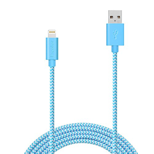 iPhone 5S Charger, 6 Ft iPhone 6S Charger F-color Apple MFi Nylon Braided Lightning Cable iPhone Charger Cord for iPhone 6S 6 Plus 5S 5S 5, iPad Mini 3 4 iPad Pro, iPhone SE, iPod Touch 5 Blue