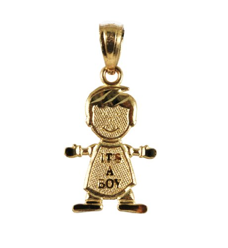 14k Yellow Gold It's a Boy Charm Pendant