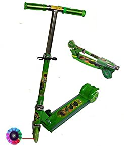 3 Wheel Kids Kick Scooter with LED Lights on Wheel (Green Color) available at Amazon for Rs.745