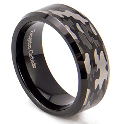 Sale! King Will 8mm Bevel Edge Tungsten Carbide Black Hunting Camouflage Wedding Band Camo Engagement Ring