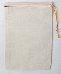 Cotton Muslin Bags 4x6 Inch Red Hem Orange Drawstring 25 Count Pack
