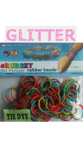 Rubbzy 100 pc Special Edition Tie Dye/Glitter Rubber Bands w/ 4 Connectors (#258) - 1