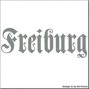 cartattoo4you AK-01584 | FREIBURG - Fraktur / Altdeutsche Schrift | Autoaufkleber Aufkleber FARBE silber , in 23 weiteren Farben erhältlich , glänzend 17 x 5 cm in PREMIUM - Qualität Waschstrassenfest VERSANDKOSTENFREI