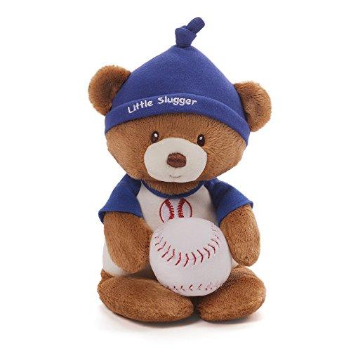 Gund Baby Teddy Bear and Rattle, Little Slugger Baseball