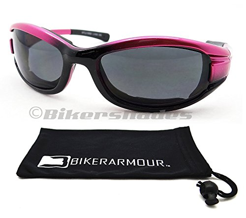 eb089df1e2a7 Pink Motorcycle Sunglasses Foam Padded for Women and Girls. Free Microfiber  Cleaning Case