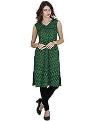 Manmandir Cotton Block Print Casual Readymade Kurti Green Colour