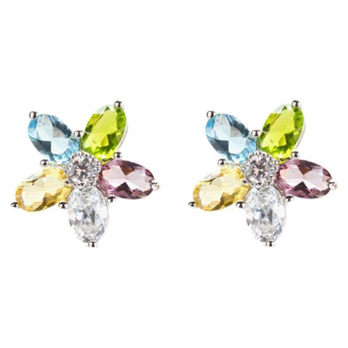 Krystiana's 925 Sterling Silver Stud Earrings Multi-Colored CZ Diamonds Flower Design - Incl. ClassicDiamondHouse Free Gift Box & Cleaning Cloth