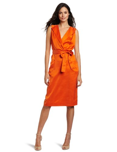 Anne Klein Collection Women's Sleeveless Dress, Orange, 8