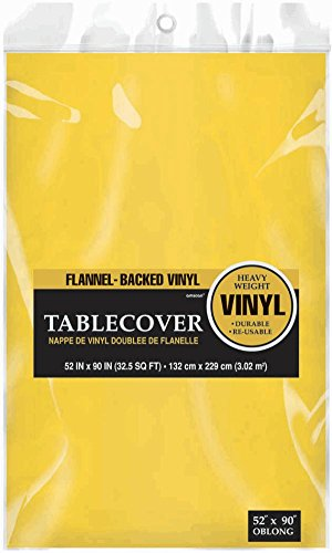 "Indoor/Outdoor Oblong Sunshine Flannel Backed Vinyl Table Cover in Solid Color Design, 52' x 90"", Yellow"