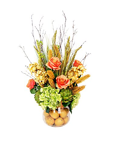 Creative Displays Inc. Mixed Floral and Artichoke Vase with Lemons, Peach/Crème/Yellow/Green