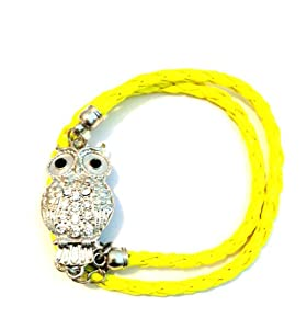 Silvertone Crystal Owl Lovers Yellow Braid Wrap Around Bracelet