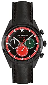 Oxygen Roma 40 Unisex Quartz Watch with Black Dial Analogue Display and Black Leather Strap EX-SDT-ROM-40-CL-BL