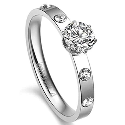 (キチシュウ)Aooazジュエリー レディースステンレスリング指輪 ホワイトCZダイヤモンド入り クラウンのデザイン シルバー 高品質のアクセサリー 日本サイズ11号(USサイズ6号)