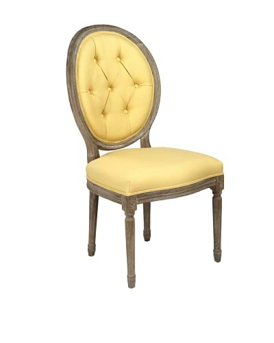 Zentique Medallion Side Chair, Yellow/Limed Grey