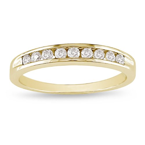 10K Yellow Gold 1/4 CT TDW Round White Diamond Eternity Ring (G-H, I2-I3)