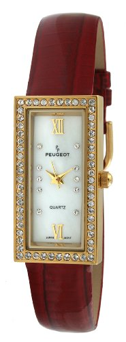 Peugeot Women's PQ8840-BO Gold-Tone Swarovski Crystal Accented Red Leather Strap Watch