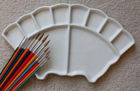 Fan Shape Porcelain Palette with Brush Set