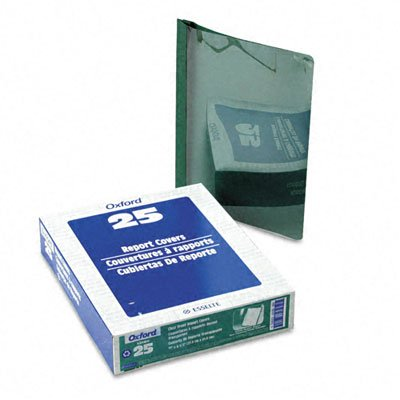 Oxford 53342 Clear Front Report Cover, 3-Prong, 1/2 Cap., Hunter Green Back Cover, 25/box